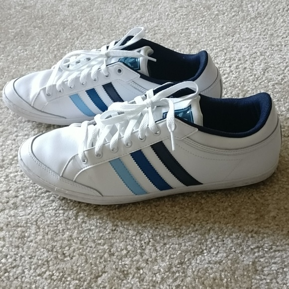 adidas Other - White adidas sneakers with blue stripes 43ef4b47d